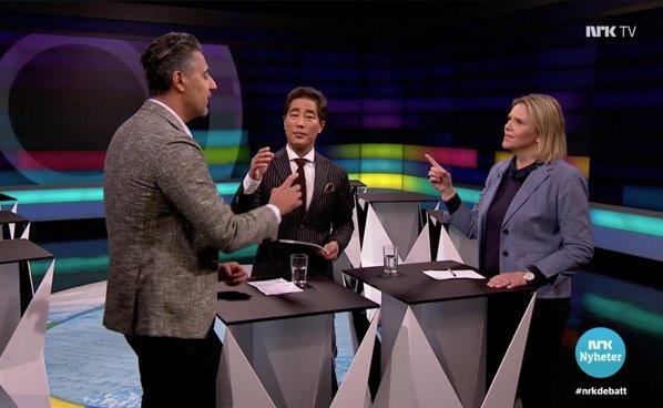 Raja og Listhaug under debatten på NRK.